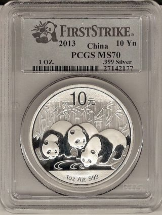 2013 China Panda First Strike S10y 1 Oz.  999 Silver Ms 70 Pcgs Cert photo