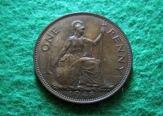 1948 Great Britain Penny - Toned Red Uncirculated - photo