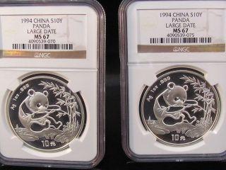 1999 Silver Panda,  Large Date,  Serif 1,  Ms - 68 Ngc photo