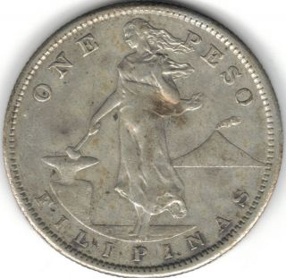Tmm 1907 - S Uncertified Silver Peso Of The Philppines Vf photo