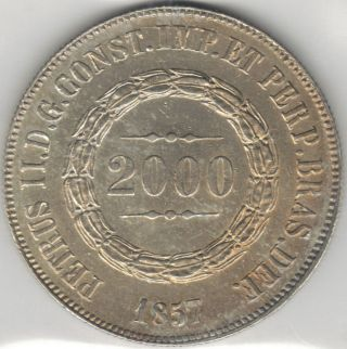 Tmm 1857 Uncertified Silver 2000 Reis Of Brazil Au photo