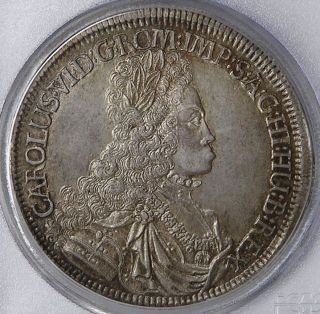 Austria Hall Charles Vi Silver Thaler 1714 Pcgs Au58 photo