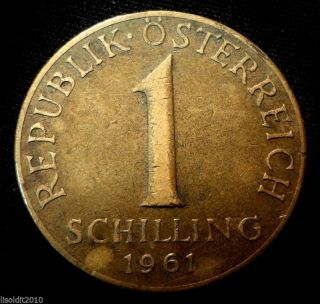 Austria 1961 1 Schilling Three Edelweiss Flowers Coin photo