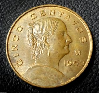 Mexico,  1969 Mo 5 Centavos Josefa Ortiz De Domínguez Large Type Coin photo