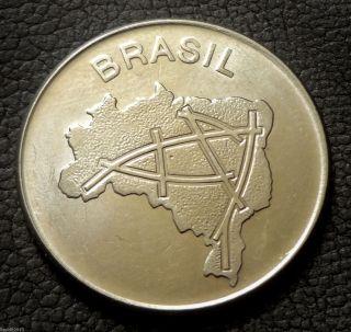 Brazil,  1982 10 Cruzeiros Map Of Brazil ' S Main Roads.  Coin photo