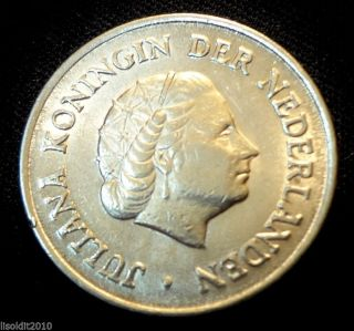 Old Netherlands 1964 25 Cents Juliana Coin photo