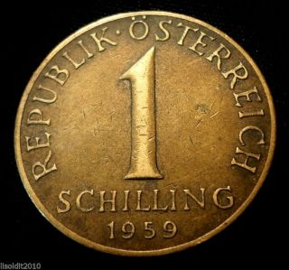 Austria 1959 1 Schilling Three Edelweiss Flowers Coin photo