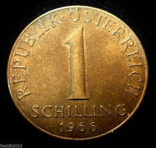 Austria 1966 1 Schilling Three Edelweiss Flowers Coin photo