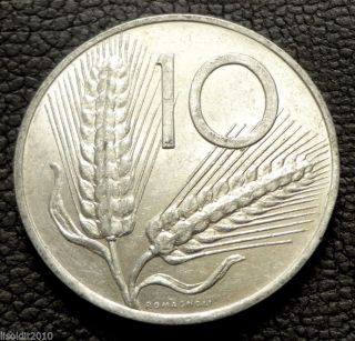 Italy,  1953 R 10 Lire Plough/two Ears Of Wheat Aluminium Coin photo