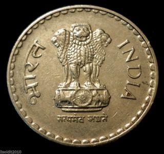 India - Republic,  2000 5 Rupees Ashoka Lion Capitol Coin photo
