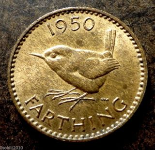 Old United Kingdom Gb 1950 1 Farthing George Vi Wren (bird) Coin photo