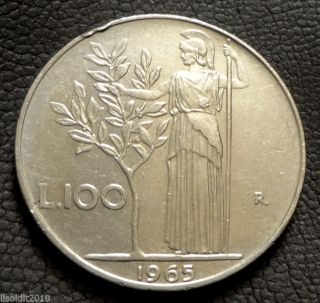 Italy,  1965 100 R Lire Large Type Minerva Coin photo