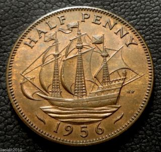 United Kingdom,  Gb.  1956 ½ Penny Elizabeth Ii Ship