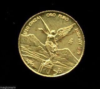 2004 1/20th Oz Gold Mexico Libertad.  999 Fine Oro Puro photo
