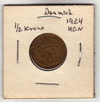 Denmark 1/2 Krone 1924 Xf photo