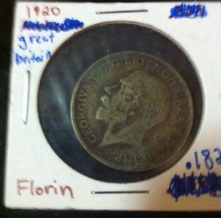 1920 Great Britain One Florin (2 Shillings) Silver Coin photo
