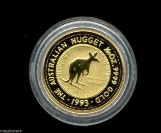 1993 Australian 1/20th Oz Gold Nailtailed Wallaby.  9999 Fine In Capsule photo