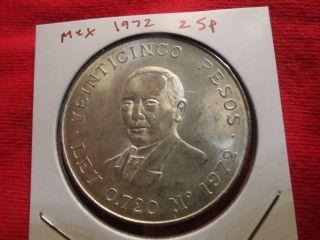 1972 Mexico 25 Pesos Gem Unc Bu Ms Huge Silver Coin Dollar Crown Size Blazer photo