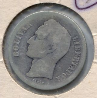 1922 Venezuela 2 Bolivares Silver Coin photo