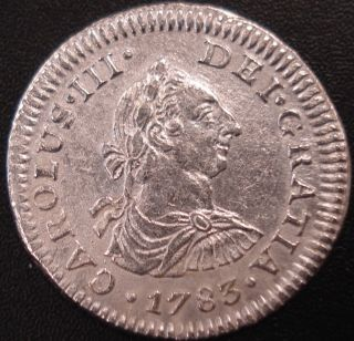 Mexico 1/2 Real Mo (mexico City) 1783 F.  F.  Carolus Iii Spanish Calonial Coin photo