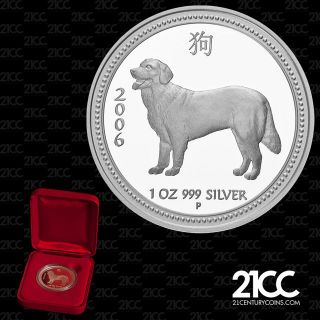 2006 Australia Year Of The Dog $1 Silver Proof Coin Lunar Rare photo