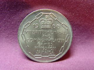 T2: World Coin Jamaica 1966 5 Shillings Commonwealth Games photo