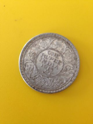 British India One Rupee Silver Coin 1913 photo