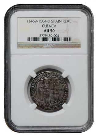 1 Real Reyes Catolicos Cuenca Ngc Au 50 Silver Catholic Kings Spain/ EspaÑa Rare photo