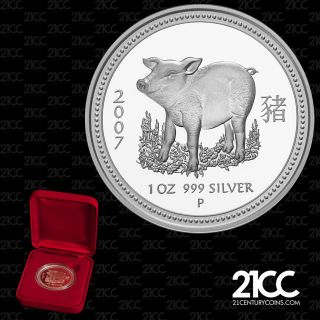 2007 Australia Year Of The Pig $1 Silver Proof Coin Lunar Rare photo