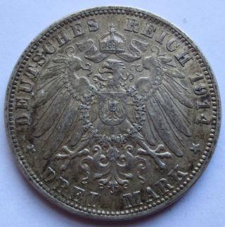 1914 - D German States Bayern Drei 3 Mark Silver Coin Xf Ludwig Iii (100743r) photo