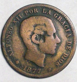 Spain 1877om Bronze 5 Centimos - Rare - Km - 674 photo