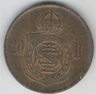 Brazil Empire,  20 Reis 1869,  Petrus Ii,  Xf. photo