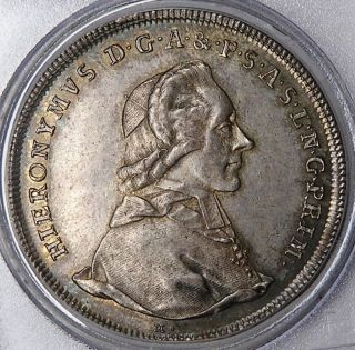 Salzburg 1783 Hieronymus Silver Thaler Pcgs Au55 photo