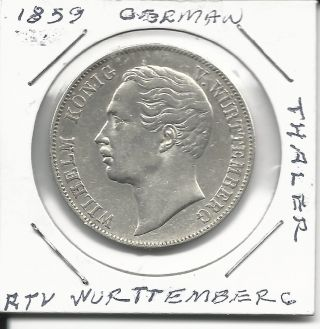 Germany Wurttemberg 1 Thaler 1859 Xf Km 601 Silver Extra Rare Coin photo
