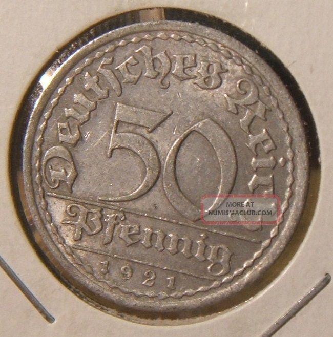 1921 - A Germany 50 Pfennig Coin Berlin Germany photo