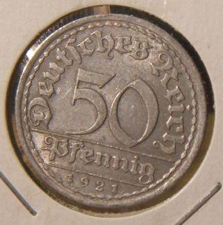 1921 - A Germany 50 Pfennig Coin Berlin photo