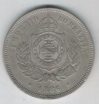 Brazil Empire,  200 Reis 1886,  Petrus Ii,  Vf. photo