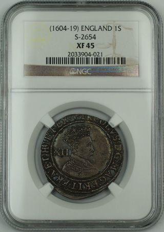 (1604 - 19) England 1s Shilling Silver Coin S - 2654 James I Ngc Xf - 45 Akr photo