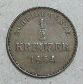 German Wurttemberg 1/2 Kreuzer 1864 Extra Fine Copper Coin photo