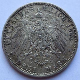 1911 - D German States Bavaria Drei 3 Mark Silver Coin Xf (100757r) photo