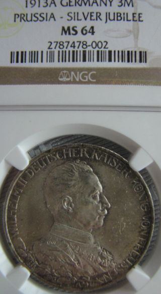 Germany 1913 A Ngc Ms 64 3 Mark Prussia Silver Jubilee photo