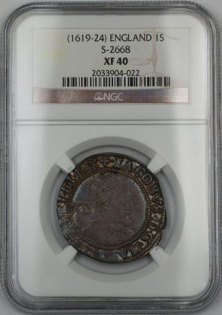 (1619 - 24) England 1s Shilling Silver Coin S - 2668 James I Ngc Xf - 40 Akr photo