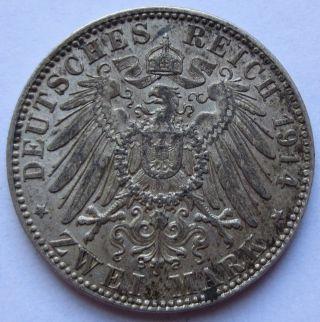 1914 - D German States Bavaria Zwei 2 Mark Silver Coin Xf Ludwig Iii (100815r) photo