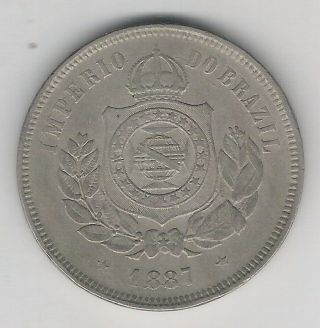Brazil Empire,  200 Reis 1887,  Petrus Ii,  Vf. photo