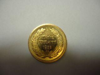 Gold Coin: 1923 Kemal Ataturk Turkey 50 Kurush 1923 (38) 3.  62 Grams photo