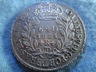 Brazil 1821r Silver Coin 640 Reis D.  Joannes Vi Rare photo