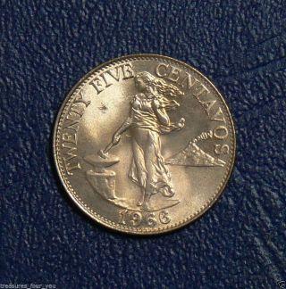 1966 Philippines 25 Centavos World Coin Unc Ungraded photo