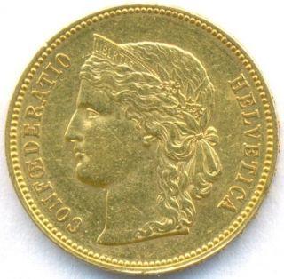 1889 Gold 20 Frank Switzerland,  Scarce Date,  Aunc++ photo
