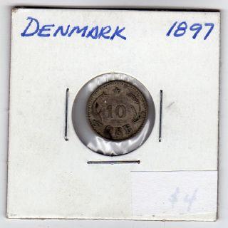 Denmark 10 Ore 1897 Silver photo