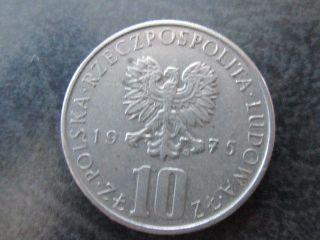 10 Zl Zlotych Poska Poland Coin 1975 photo